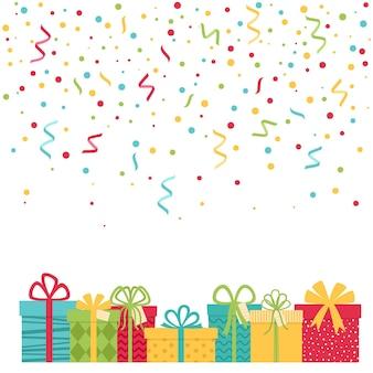 Fond de vacances avec des confettis et des coffrets cadeaux, illustration vectorielle
