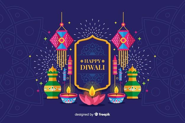 Fond de vacances diwali design plat avec des bougies