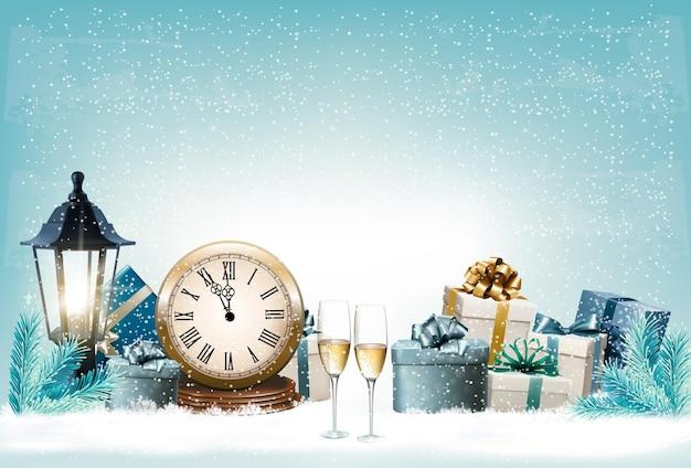Fond de vacances du nouvel an avec des cadeaux et une horloge