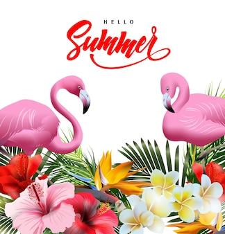 Fond de vacances d'été avec des fleurs tropicales avec flamant rose. lettrage bonjour été template vecteur.