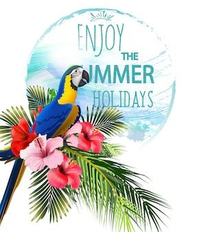 Fond de vacances d'été avec des fleurs tropicales avec perroquet tropical coloré et toucan