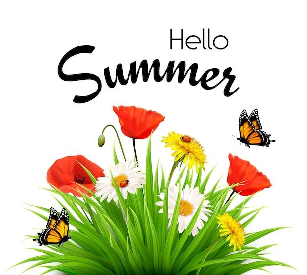 Fond de vacances d'été heureux avec des fleurs et des papillons. vecteur.