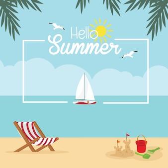 Fond de vacances d'été plage tropicale avec carte d'éléments de plage