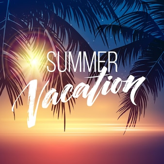 Fond de vacances d'été avec des silhouettes de palmiers