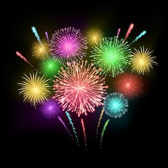 Fond de vacances de feux d'artifice de carnaval coloré