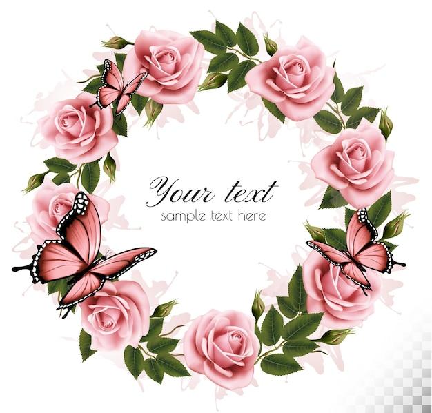Fond de vacances avec des fleurs de beauté et des papillons. vecteur.