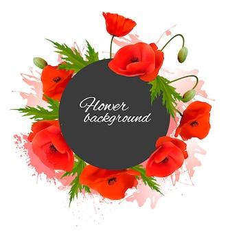 Fond de vacances avec des fleurs rouges. vecteur