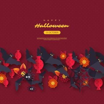 Fond de vacances halloween. chauves-souris volantes de style papier découpé, bonbons, fleurs et araignées. fond de couleur pourpre avec texte d'accueil. illustration vectorielle.