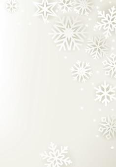 Fond de vacances d'hiver blanc avec des flocons de neige