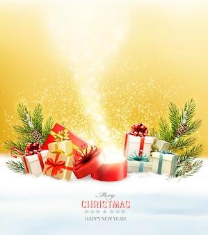Fond de vacances de noël avec des cadeaux et une boîte magique