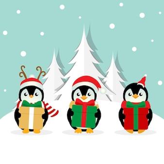 Fond de vacances de noël avec dessin animé pingouins vector illustration