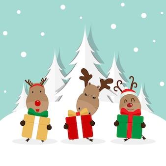 Fond de vacances de noël avec illustration vectorielle de renne