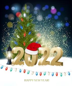 Fond de vacances de nouvel an et joyeux noël avec 2022 avec bonnet de noel et guirlande colorée. vecteur.