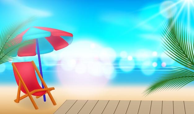 Fond de vacances. plage avec palmiers, parasol et mer bleue