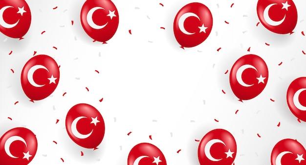 Fond de vacances de turquie avec des ballons et des confettis