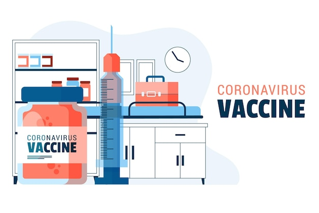 Fond de vaccin contre le coronavirus dessiné main plat