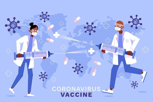 Fond de vaccin contre le coronavirus dessiné à la main