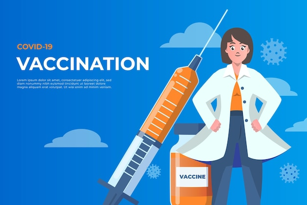 Fond de vaccin de dessin animé contre le coronavirus