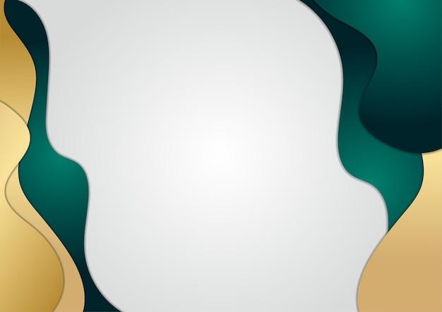 Fond de vague abstraite en couleur or et vert. fond de luxe et élégant. conception de modèle abstrait. conception pour présentation, bannière, couverture, carte de visite