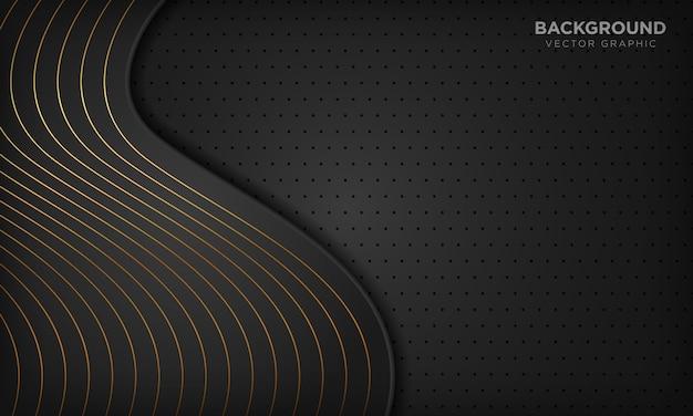 Fond de vague abstraite noire de luxe avec des lignes dorées.