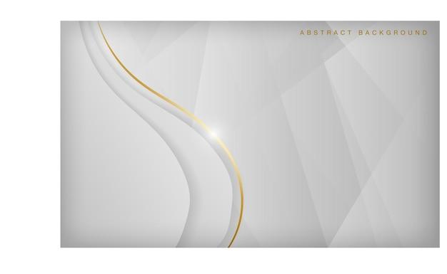 Fond de vague argent clair abstrait élégant concept de luxe avec des lignes dorées