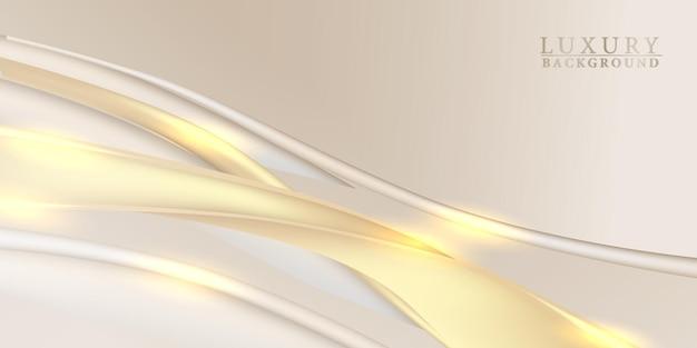 Fond de vague de flux de courbe de tissu de satin doré élégant tissu de luxe