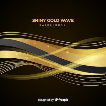 Fond de vague d'or brillant