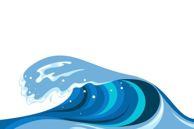 Fond de vague tsumani dans un style cartoon plat. grande éclaboussure d'eau tropicale bleue avec de la mousse blanche. illustration vectorielle