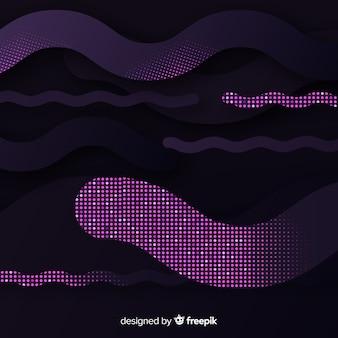 Fond de vagues noires avec effet de demi-teintes