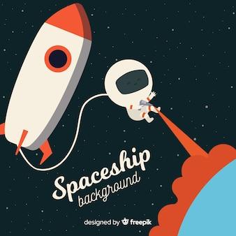 Fond de vaisseau spatial avec astronaute