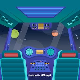 Fond de vaisseau spatial en design plat