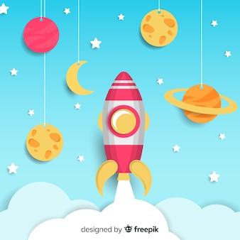Fond de vaisseau spatial avec design plat