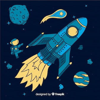 Fond de vaisseau spatial dessiné à la main