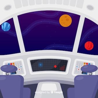Fond de vaisseau spatial intérieur avec un design plat