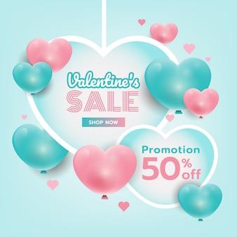Fond de valentin suspendus des coeurs avec le texte. coeurs 3d roses et bleus. bannière de promotion douce