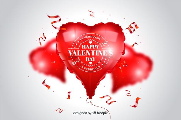 Fond de valentine avec des ballons de coeur