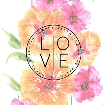 Fond de valentine florale élégante aquarelle
