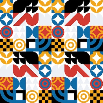 Fond de vecteur abstrait bauhaus sans soudure. motif géométrique rétro. mosaïque de formes simples.