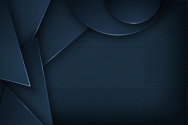 Fond de vecteur abstrait bleu foncé avec des caractéristiques qui se chevauchent.
