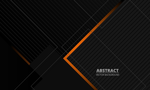 Fond de vecteur abstrait corporatif élégance gris foncé avec des lignes orange et grises
