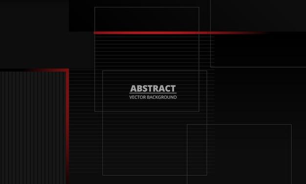 Fond de vecteur abstrait corporatif élégance gris foncé avec des lignes rouges et grises