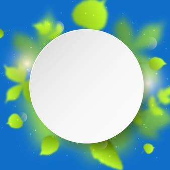 Fond de vecteur abstrait avec des feuilles floues vertes et une bannière ronde blanche