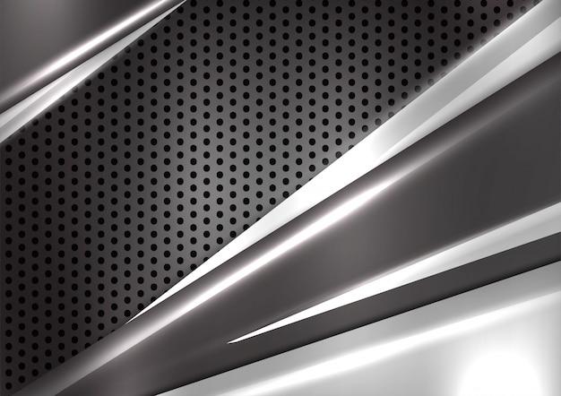 Fond de vecteur abstrait géométrique noir et argent