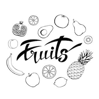 Fond de vecteur d'aliments sains. affiche ou bannière avec des fruits dessinés à la main et des fruits de lettrage.