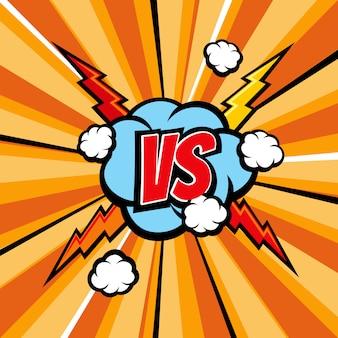 Fond de vecteur bande dessinée versus bataille avec texture livre demi-teinte et la foudre