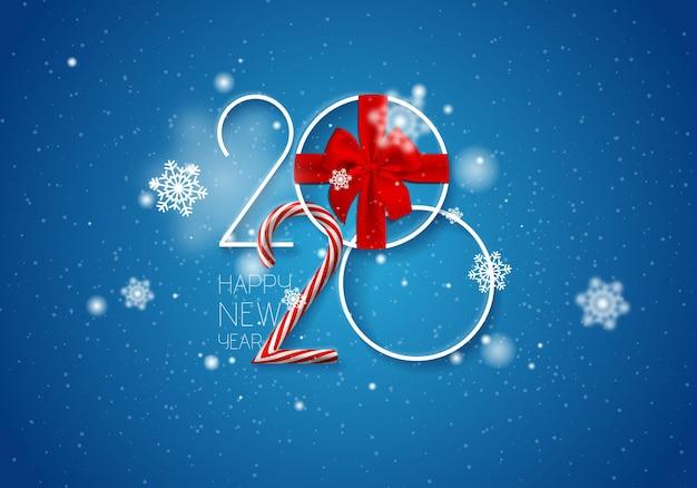 Fond de vecteur de bonne année 2020 avec des nombres blancs de neige d'arc de cadeau et de canne de caramel