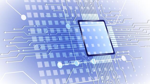 Fond de vecteur de carte de circuit imprimé de microprocesseur d'ordinateur abstrait. eps 10.