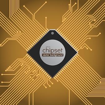 Fond de vecteur de circuit de chipset, couleurs marron et or