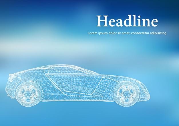 Fond de vecteur de concept créatif abstrait du modèle de voiture 3d. voiture de sport.