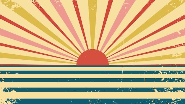 Fond de vecteur dans un style rétro rétro soleil cirque rétro abstrait des années 80